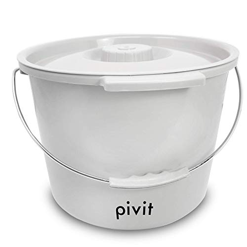 Pivit Replacement Commode Buckets | Includes Lid and Metal Handle | Portable Universal Potty Pail Fits Any Bedside Medical Toilet | Heavy Duty with Side Handles & Odor Seal Cover