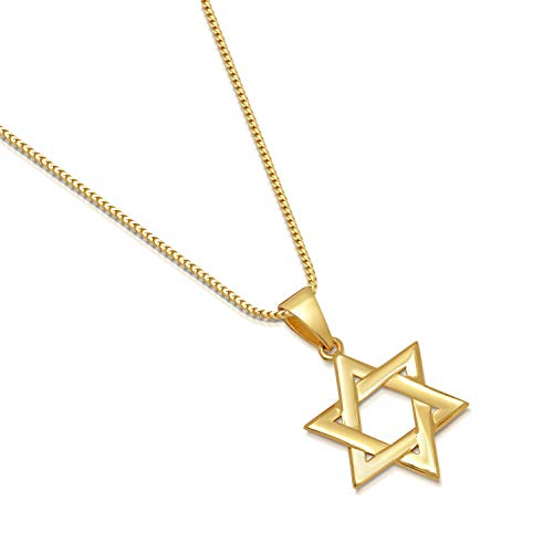 14K Gold Plated Sterling Silver Star of David Pendant Italian 1.3mm Franco Chain Necklace - Choice of Sizes