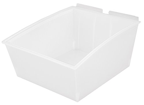 Slatwall Storage / Display bin, Plastic (polypropylene), 13.25''L x 11.25''W x 6.75''H, Clear (4 Pack) Fits grid and pegboard with optional adapters. by Slatbox brand, Popbox Big model