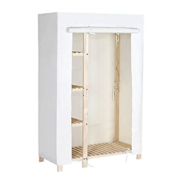 Perfect Tidy Living   Natural Wood Wardrobe Closet   4 Shelf Garment Rack With  Canvas Cover