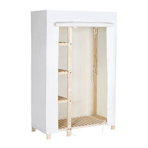 Tidy Living - Natural Wood Wardrobe Closet - 4 Shelf Garm...