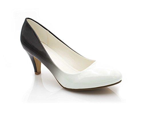 Donna Bianco Fashion Shoes Tacco Scarpe nero Col xnxfqZwH