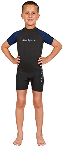 NeoSport Wetsuits Youth Premium Neoprene 2mm Youth's Shorty, Blue Trim, 6 - Diving, Snorkeling & Wakeboarding