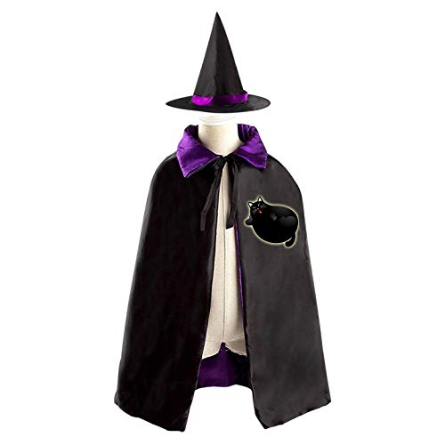 69PF-1 Halloween Cape Matching Witch Hat Fubsy Kitten Wizard Cloak Masquerade Cosplay Custume Robe Kids/Boy/Girl Gift -