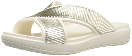 Crocs Sloane Embellished Xstrap, Tongs Femme Beige / or (Oyster)