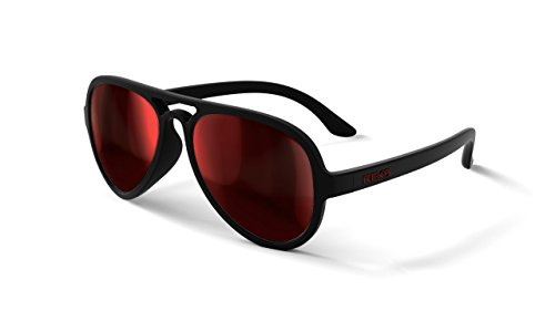 REKS Unbreakable AVIATOR Sunglasses, Anti-Reflective Lens (Satin Touch Black, Black/Red Mirror) ()