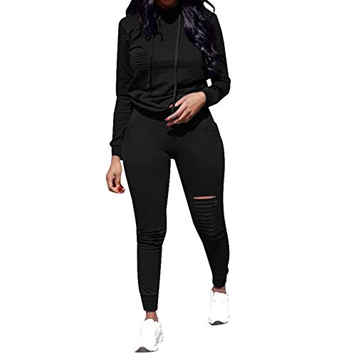 Fantasy Closet Women's 2 Pieces Outfits Long Sleeve Top and Long Pants Sweatsuits Set Tracksuits Black ()