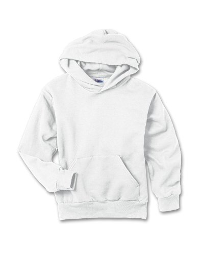 Hanes Comfortblend Pullover Fleece (Hanes 7.8 oz Youth COMFORTBLEND EcoSmart Fleece Pullover Hood, White, Medium)