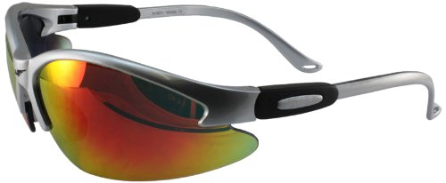 Global Vision Safety Shop Glasses With G Tech Lens  Silver Frame Red Lens