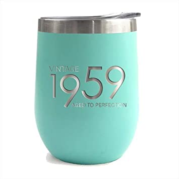 1959 60th Birthday Gifts For Women And Men Teal 12 Oz Insulated Stainless Steel Tumbler