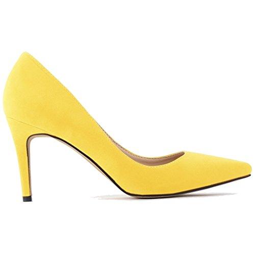 Talon Pointe Pointe Extrémité Haut Jaune Femmes Chaussures de bas Pompes Suede Bouts Pointu Xianshu Pxt1pn