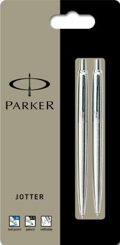 Parker Jotter Stainless Steel Chrome Trim Ball Pen & Mechanical Pencil - Set of 2 (Parker Pens Pencils)