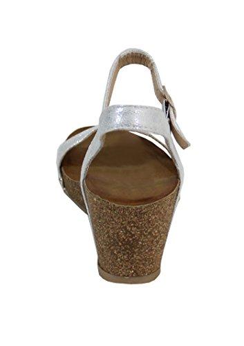 By Shoes -Sandalias alta estilo cuero para Mujer Silver