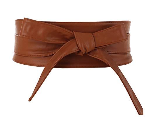 Aecibzo Women's PU Leather Self Tie Wrap Around Obi Waist Band Cinch Boho Belt (Brown, Fit waist 22