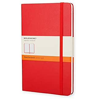 "Moleskine Classic Notebook, Hard Cover, Large (5"" x 8.25"") Ruled/Lined, Scarlet Red, 240 Pages"