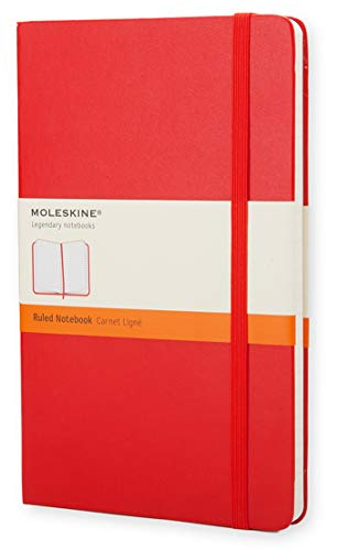 """Moleskine Classic Notebook, Hard Cover, Large (5"""" x 8.25"""") Ruled/Lined, Scarlet Red, 240 Pages"""