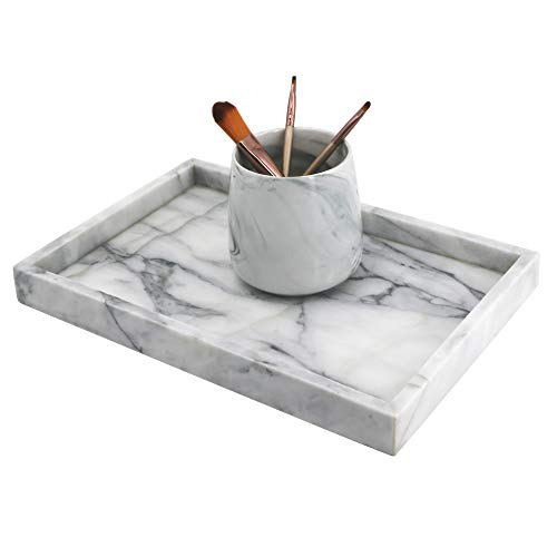 LUANT Marble Stone Decorative Tray for Counter, Vanity, Dresser, nightstand or Desk (Top Dresser Marble)