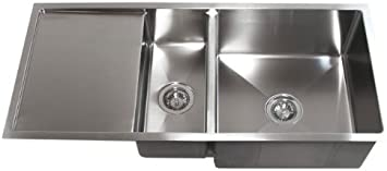 42 Inch Stainless Steel Undermount Double Bowl Kitchen Sink With Drain Board Amazon Co Uk Diy Tools