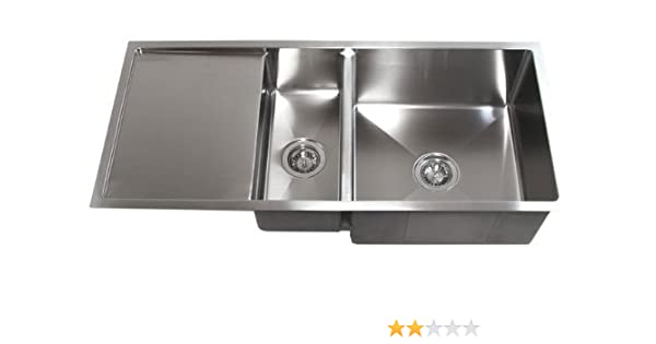 42 inch stainless steel undermount double bowl kitchen sink with rh amazon com stainless kitchen sink with drainboard kitchen sink with side drainboard