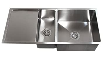 42 inch stainless steel undermount double bowl kitchen sink with drain board - Single Or Double Kitchen Sink
