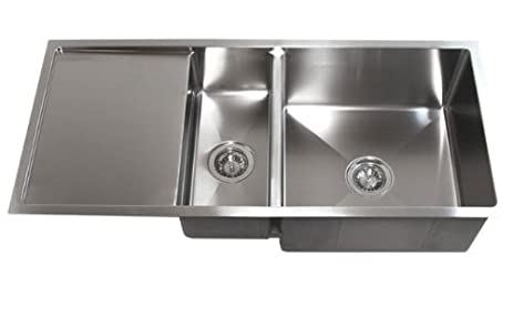 Captivating 42 Inch Stainless Steel Undermount Double Bowl Kitchen Sink With Drain Board