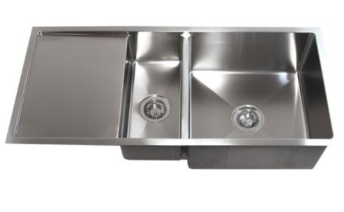 42 inch stainless steel undermount double bowl kitchen sink with drain board single bowl sinks amazoncom. Interior Design Ideas. Home Design Ideas