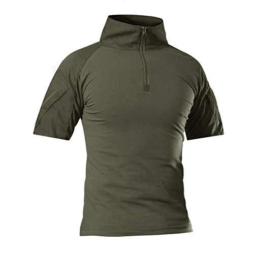 CRYSULLY Men's Summer 1/4 Zip Combat Shirt Rapid Assault Short Sleeve Shirt Airsoft Shirts Battle Shirt Army Green