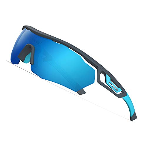 TOREGE Polarized Sports Sunglasses with 3 Interchangeable Lenes for Men Women Cycling Running Driving Fishing Golf Baseball Glasses TR05 (Matte Gray&Blue&Blue Lens)