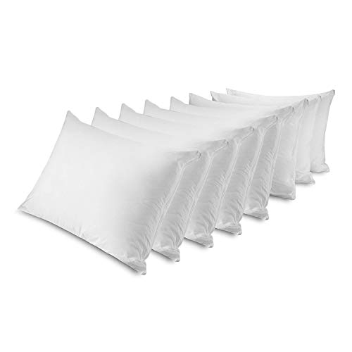 MASTERTEX Zippered Pillow Protectors 100% Cotton, Breathable & Quiet (8 Pack) White Pillow Covers Protects from Dirt, Dust Mites & Allergens (Standard - Set of 8 - 20x26)