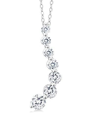 Gem Stone King Unique Graduated Cubic Zirconia CZ Twist Journey Pendant with 18 inch (Cubic Zirconia Journey Pendant)