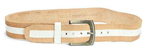 Brave Beltworks Men's Kaylan Leather Belt in Tan/White Stripe, 32 (Beltworks Leather)