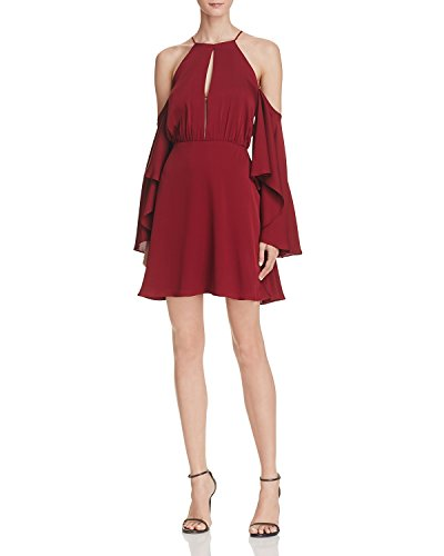 Silk Dress Halter Neck (MILLY Women's Melody Cold-Shoulder Halter-Neck Stretch-Silk Dress, Bordeaux, Size 6)