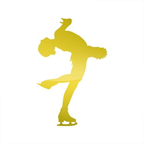 Figure Female Metallic (Metallic Figure Skater Sticker Die Cut skating female girl #2 - Gold)