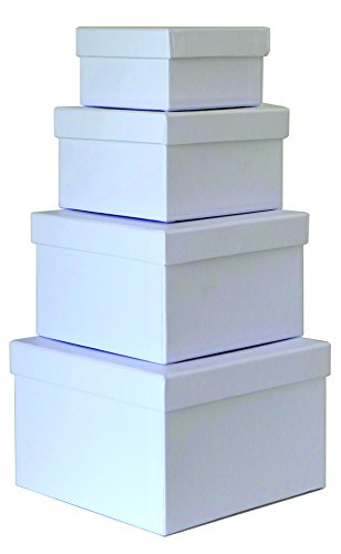 Cypress Lane Square Gift Boxes, a Nested Set of 4, 3.5x3.5x2 to 6x6x4 inches (White)