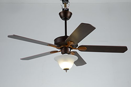 Induxpert Ceiling Fan with Lights   3 Speed Remote Controlled 52 Inch Reversible Mounted Fan   Frost Glass Light Fixtures by INDUXPERT (Image #1)