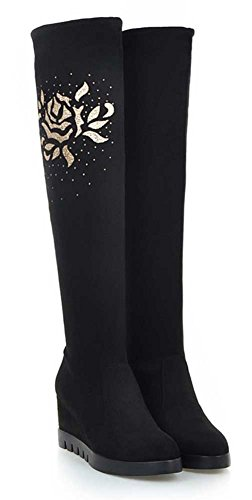 CHFSO Womens Winter Comfy Solid Suede Floral Round Toe High Wedge Heel Knee High Boots Black KNkfQLbuj