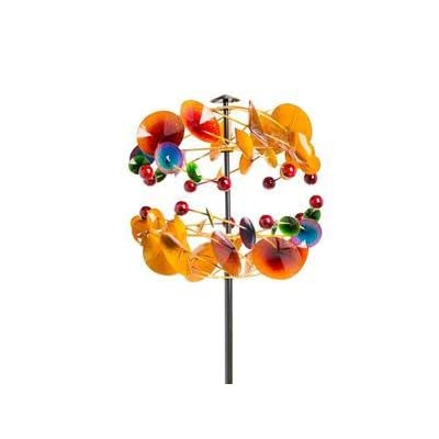 "Wind & Weather Two-Tier 20"" Diameter Multi-Colored 69"" High Metal Mobile-Inspired Wind Spinner with Sturdy Post and Stakes for Secure Installation in The Garden: Garden & Outdoor"