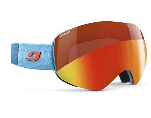 Julbo Skydome Photochromic Snow Goggles Lightweight with Ultra Wide Panoramic Lens - Snow Tiger - Sky Blue/Orange (Best Ski Goggles For Whiteout Conditions)
