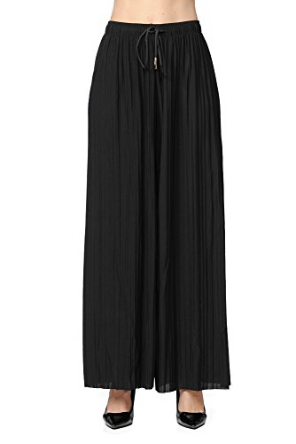 GAAM Wide Leg Pleated Palazzo Dress Pants for Women - High Waist with Drawstring Black