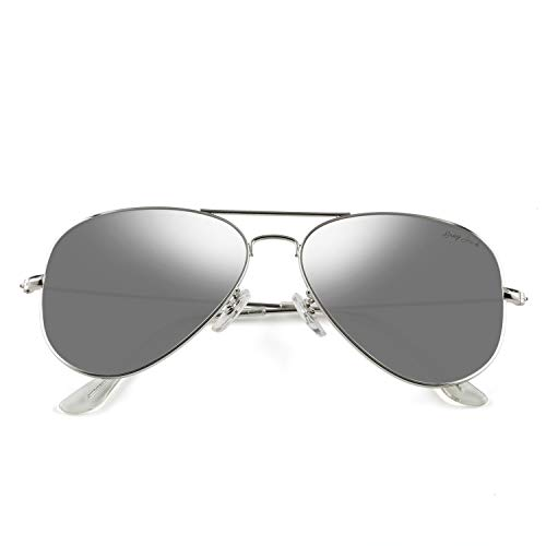 GREY JACK Polarized Classic Aviator Sunglasses Lightweight Style for Men Women Silver Frame Silver Lens ()
