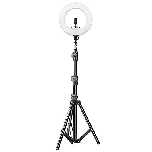 Nepshort 14″ Selfie Ring Light with 55″ Extendable Tripod Stand with Remote & Flexible Phone Holder for Live Stream/Makeup, Desktop Led Camera Ringlight for YouTube TIK-Tok Video