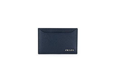 Prada Saffiano Cuir Logo Plaque Card Case, Navy (Baltico) - Corporate Prada