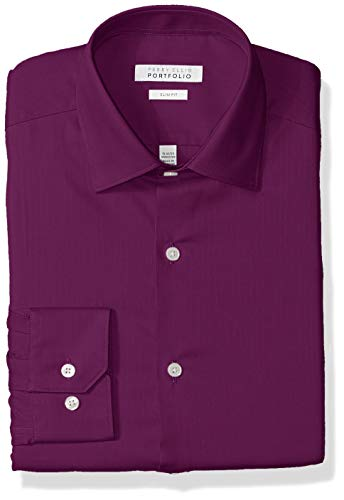 (Perry Ellis Men's Slim Fit Wrinkle Free Dress Shirt, Ruby 15.5 32/33)