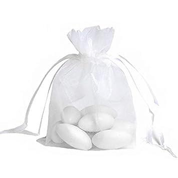 JZK 50 x Bolsas Organza Blanca 12 x 9cm para Regalo Joyas Caramelos arroz de Boda cumpleaños Baby Shower