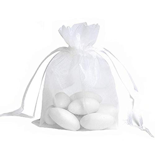 JZK 50x White Organza Bags Party Favour Bags Confetti Bags Small Gift Bags, 12x9 cm, for Candy, Small Jewelry, Gift, Beads, Dry Flower, for Wedding, Birthday, Baby Shower, Halloween, Christmas, Child for $<!--$6.31-->