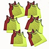 12 Pinnies Youth Practice Team Jerseys Mesh Scrimmage Training Vest Kids Sports (Yellow and Red)