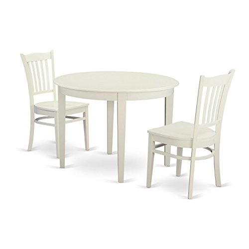 East West Furniture BOGR3-WHI-W 3 Piece Kitchen Table and 2 Dining Chairs Dinette Set for 2 - Round Table W/2 Chairs