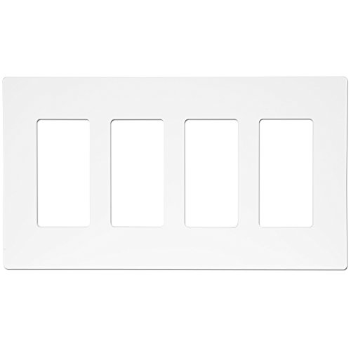 ENERLITES SI8834-W Screwless Decorator Wall Plate Child Safe Cover, Standard Size 4-Gang, Polycarbonate Thermoplastic, White