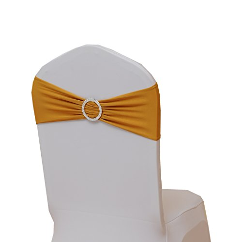 Fvstar Gold Wedding Chair Sashes Bow Spandex Elastic Chair Cover Bands for Decorations,Pack of 10 (Ties For Chairs Bow)