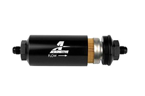 Aeromotive 12347 Line Filter-(an-6 Male) 10 Micron Fabric Element Bright Dip Black ()